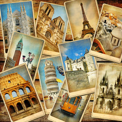 Panel Szklany Do salonu vintage travel collage background