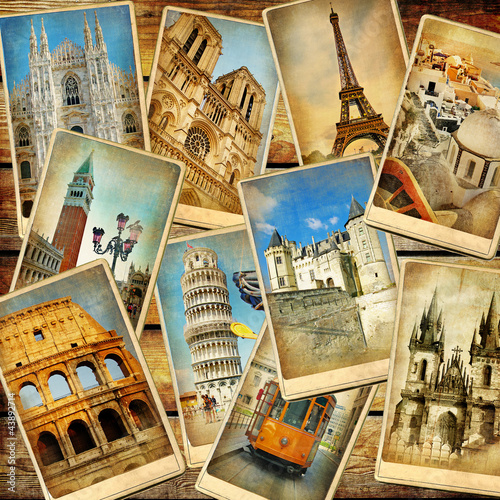 Foto op Plexiglas Retro vintage travel collage background