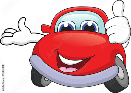 Staande foto Cartoon cars Funny car cartoon