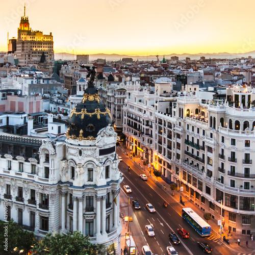 Foto-Kassettenrollo premium - Panoramic view of Gran Via, Madrid, Spain.