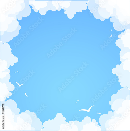 Garden Poster Heaven Frame made of clouds. Abstract Background. Summer theme
