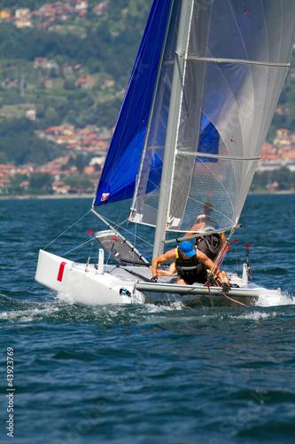 Staande foto Zeilen regata con catamarano