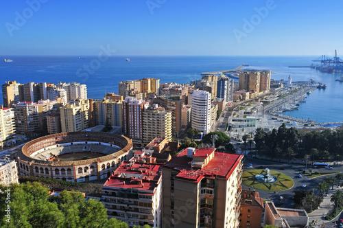 Malagueta District and its famou Bullring in Malaga, Spain