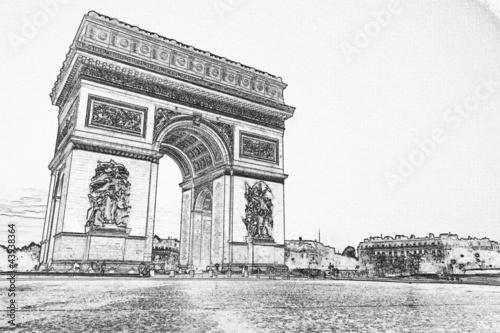filter effect photo of Arc De Triomphe, Paris, France