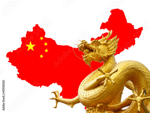 Poster Chine Chinese golden dragon and Chinese flag on the map