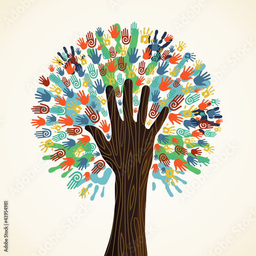 Foto  Isolated diversity tree hands