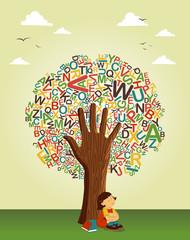Fototapeta samoprzylepna Learn to read at school education tree hand