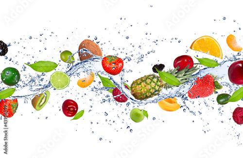 Fresh fruits falling in water splash - 43956599