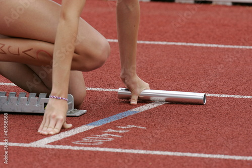 Photo  Leichtathletik, Starter am Startblock