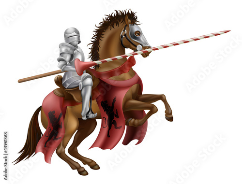 Poster de jardin Chevaliers Knight with lance on horse
