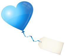 Flying Blue Heart Balloon & Beige Label