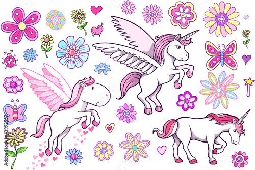 Unicorn Pegasus Fairytale Spring Vector Set Poster