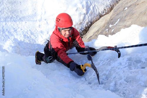 Foto auf AluDibond Bergsteigen Ice climbing.