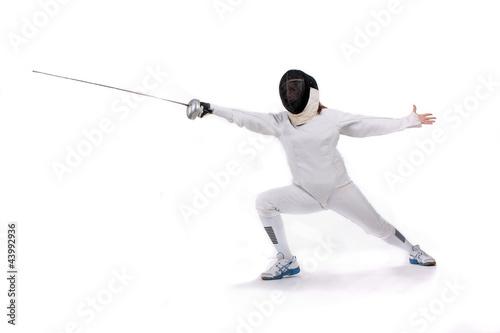 Foto-Stoff bedruckt - Fechterin mit Fechtmaske (von Pictures4you)