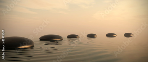 Zen path of stones on sunrise in widescreen - 43993007