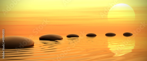Zen path of stones on sunset in widescreen - 43993055