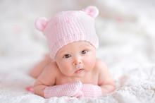 Newborn Baby Girl In Pink Knit...