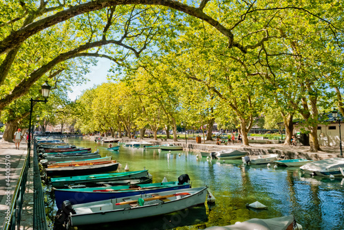 Annecy, boats and channel from lovers' bridge Canvas Print