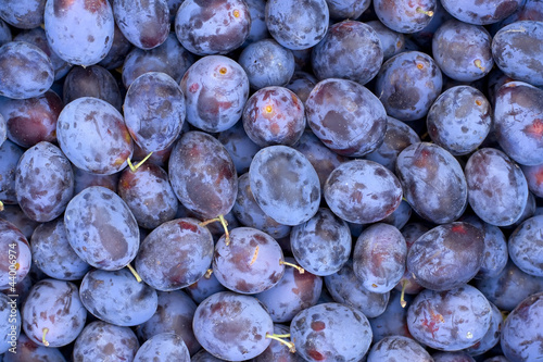 Fresh fruits plums background