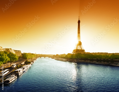 Seine in Paris with Eiffel tower Wallpaper Mural