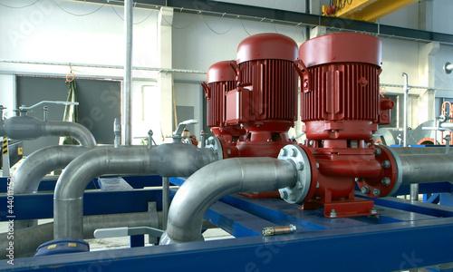 Staande foto Industrial geb. industrial pipelines and pump