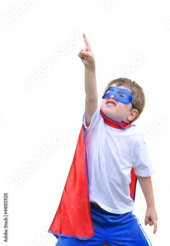 Fotografie, Obraz  Super Hero Boy Pointing on White Background