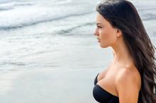 Beautiful Girl Looking At The Sea