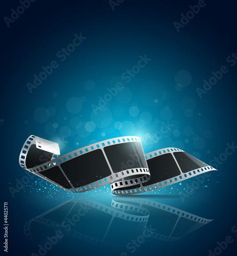 Poster  Camera film roll blue background, illustration