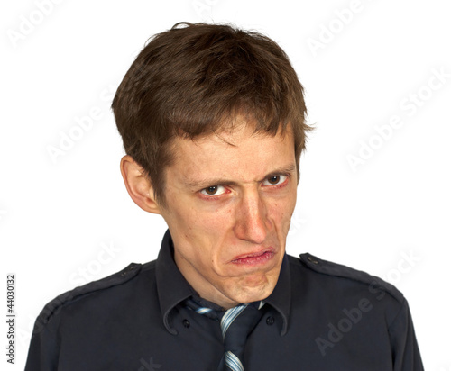Fotografia Displeased Man on White