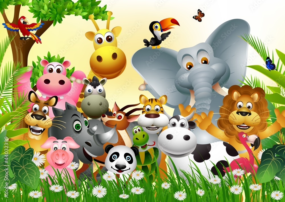 Fototapety, obrazy: funny big set of animal cartoon with  tropical forest background