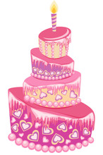 Sweet Pink Wedding Cake Isolated On A White