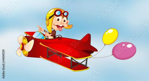 Cadres-photo bureau Avion, ballon monkey flying in aircraft with balloons