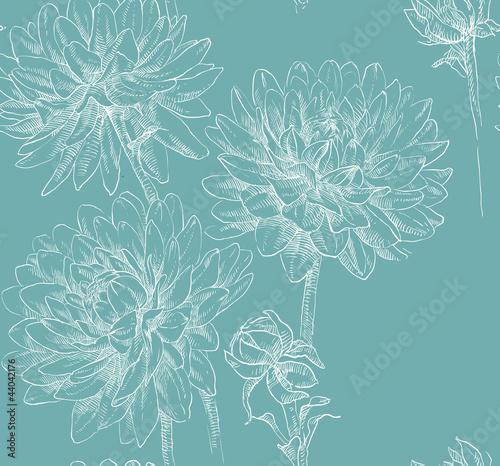 Photo sur Toile Papillons dans Grunge floral seamless pattern