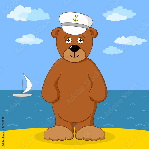 Wall Murals Bears Teddy bear captain on sea coast