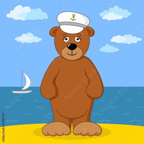 Poster Ours Teddy bear captain on sea coast