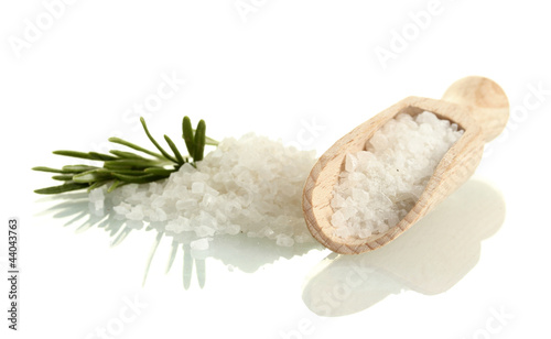 Türaufkleber Gewürze 2 salt with fresh rosemary isolated on white