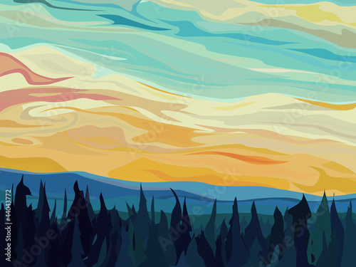 Obrazy wieloczęściowe Abstract vector hills of coniferous forest against sunset