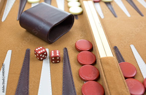 Fototapeta Red double sixes in backgammon game