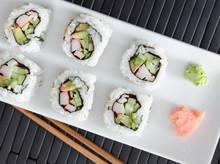 Sushi - California Rolls Shot From Overhead