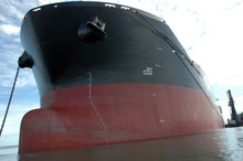The Bow Of A Big Tanker Ship
