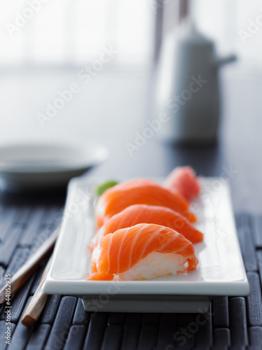 colorful salmon nigiri in asian setting Wallpaper Mural