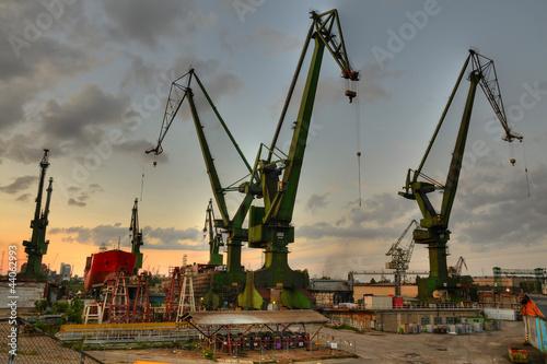 Fotografía Gdansk shipyard cranes at summer evening