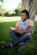 Black man using a smartphone.