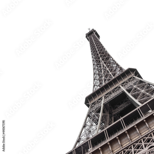 Fotobehang Aan het plafond Eiffel Tower from bottom isolated on white background