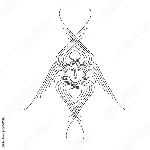 Photo seraphim outline vector illustration