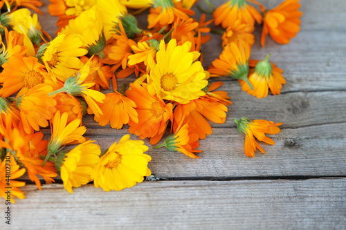 Fotografía  marigold flowers over wooden background, autumn
