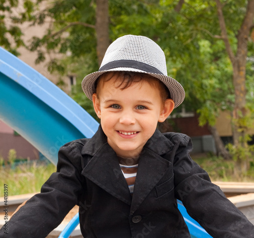 8af5b57bf2e Portrait of beautiful smiling little boy in hat - Buy this stock ...