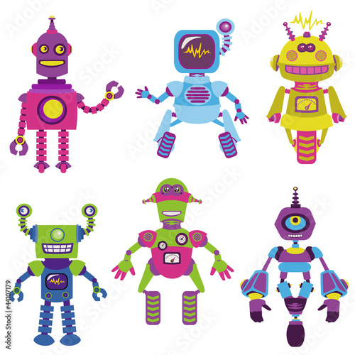 Garden Poster Robots Cute little Robots Collection - for your design or scrapbook