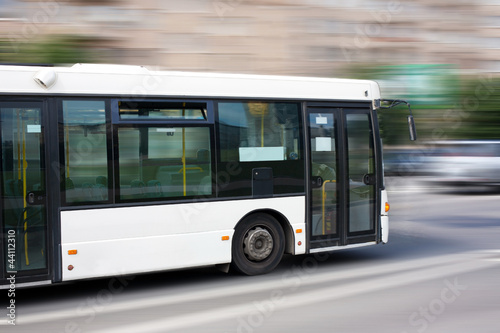 Photo white city bus