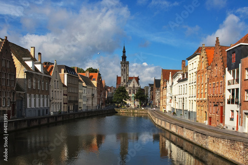 Wall Murals Bridges Facade of flemish houses and canal in Brugge